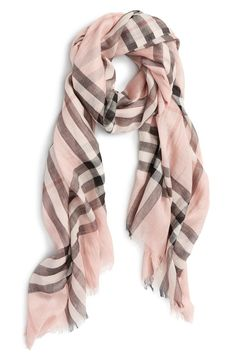 A gauzy, lightweight scarf is elegantly patterned with an oversized check print-breezy, versatile and stylish. Style Name:Burberry Giant Check Print Wool & Silk Scarf. Style Number: Available in stores. Woolen Scarves, Wool Scarf, Silk Scarves, Wool Coat, Spring Scarves, Lightweight Scarf, Check Printing, Mulberry Silk, Pantone Color