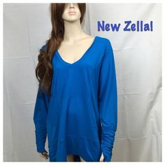 "NWT Zella 1X Lightweight Athletic Sleeve Shirt BRAND NEW, MINT CONDITION Zella Lightweight UV Protection Blue Activewear shirt. This is a awesome shirt for fitness with a hood and keyhole sleeves. The Micro Zel-UV  wicks away moisture, breathable and reduces chafing. Size 1X with measurements: 50"" inch chest, 28"" long NO TEARS, NO STAINS  SMOKE-FREE-HOME Zella Tops Tunics"