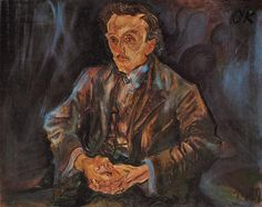 Tableaux sur toile, reproduction de Kokoschka, Portrait Of Adolf Loos, 74x91cm