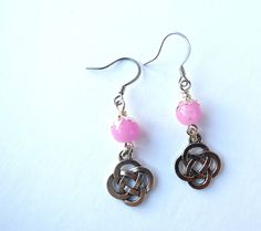 Celtic Knot Light Pink Earrings | Minimalist Jewerly | Gifts under 10 | Dainty Earrings | Drop Earrings | Pink Earrings | Gifts for Her by MagnificentMouse on Etsy