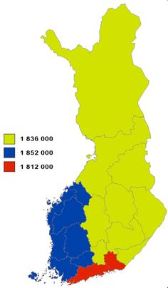 - Finland split into 3 areas of approximately equal population.