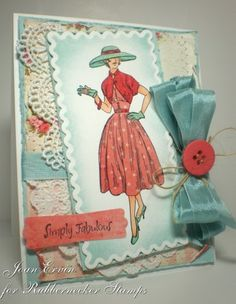 Hello everyone and welcome to another Creative Belli Challenge ! The challenge this two weeks is to use paper piecing . Remember, the spi. Couture Vintage, Vintage Crafts, Vintage Sewing, Vintage Dress, Vintage Ads, Vintage Patterns, Vintage Style, Sewing Cards, Shabby Chic Cards