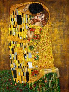 Gustav Klimt The Kiss Art Nouveau Print Mouse Mat. The Kiss, Art Nouveau, Art Klimt, Canvas Art Prints, Wall Canvas, Wall Prints, Canvas Fabric, Kiss Painting, Tableaux Vivants