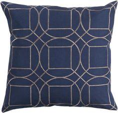 Skyline Cobalt Gray Fabric Square Throw Pillow (L 18 X W 18 X H 4)