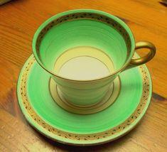 Shelley Regent shaped ART DECO cup saucer mint green bands swirls Heavy Gilding