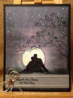 Count the Stars in the Sky by Covington Crafter @ SplitcoastStampers.  (Pin#1:  Background: Sponging/ Masking.  Pin+: Anniversary; Silhouette).
