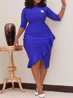 Plus Size Falbala Three-Quarter Sleeve Plain Women's Bodycon Dress Short African Dresses, Latest African Fashion Dresses, African Print Fashion, Women's Fashion Dresses, Elegant Dresses Classy, Classy Dress, English Dress, Plus Size Bodycon Dresses, Classy Work Outfits