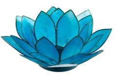 BBTLBL Blue lily tea light holder. Approx 10cm wide. Create a beautiful blue ambience $5.00 each for hire including a 9 hour burn tea light