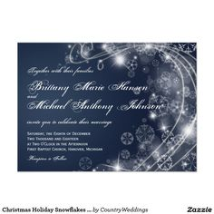 Shop Christmas Holiday Snowflakes Blue Wedding Invites created by CountryWeddings. Christmas Wedding Invitations, Country Wedding Invitations, Custom Invitations, Snowflake Wedding, Country Wedding Cakes, Christmas Holidays, Winter Holiday, Snowflakes, Dark Navy