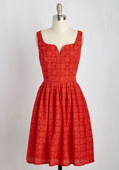 Don't Spin It All in One Place Dress in Red. The moment you twirl into this cotton dress by Adrianna Papell, youll want to pivot endlessly around your room. #red #modcloth
