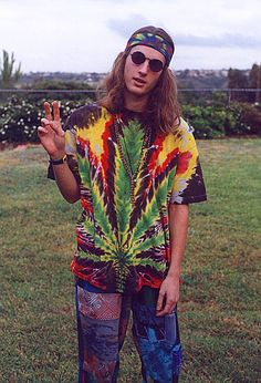 Tie dye, bandanas and glasses. Pure hippie