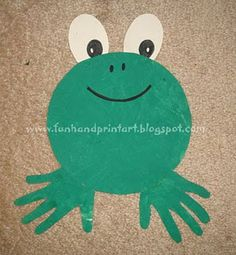 Handprint frog. I will definitely use this in my frog-themed classroom!