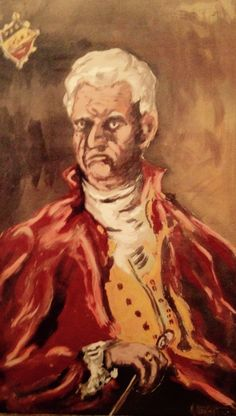 """Vintage unframed canvas signed portrait - K Atkeits (subject unknown, although we call him The Baron) 39""""w x 66""""h SOLD"""