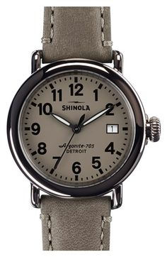 'The Runwell' Leather Strap Watch, 36mm at Nordstrom.com. The first Shinola watch series ever made in Detroit, now in a smaller size and classic style in a round, handcrafted timepiece. The 46-piece quartz movement powers the time, while a double-curved sapphire crystal face protects the clean display.