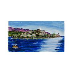 (Ελληνικά) Χειροποίητος πίνακας ζωγραφικής με τοπίο πάνω σε ξύλο ζωγραφισμένο με λαδομπογιάδες Landscape Paintings, Greek, World, Places, Handmade, Beauty, Art, Art Background, Hand Made