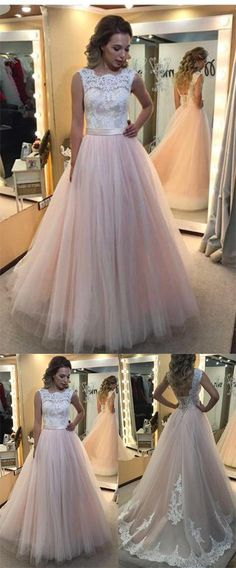 This dress could be custom made, there are no extra cost to do custom size and color, A-Line Light Pink Tulle with White Lace Appliqued Open Back Floor-Length Prom Dresses Inexpensive Bridesmaid Dresses, Affordable Prom Dresses, Elegant Prom Dresses, Backless Prom Dresses, Cheap Prom Dresses, Cheap Wedding Dress, Bridal Dresses, Prom Gowns, Dress Prom