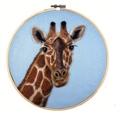 Giraffe hoop art. Fiber art. Giraffe nursery. Safari art