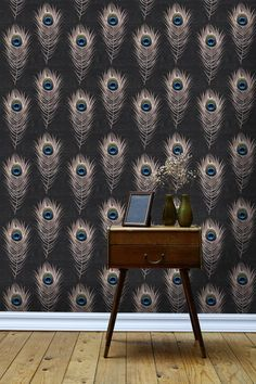 Paste the wall. Easy to hang. No pasting table necessary MINDTHEGAP wallpapers are made in Transylvania. They use a premium non- woven quality substrate which is surface printed with eco-friendly inks. All their wallpapers come in rolls of 3mt length with 0.52cm width. The wallpaper is packed in a black box of 3 rolls. with one box of MINDTHEGAP wallpaper you can cover up to 4.65 sqm. They use only FSC Grade wallpaper substrate produced from sustainable managed forest. The inks are odourless, wi Dining Room Wallpaper, Art Deco Wallpaper, Designer Wallpaper, Peacock Wallpaper, Accent Wallpaper, Geometric Wallpaper, Black Wallpaper, Unusual Wallpaper, Monkey Wallpaper