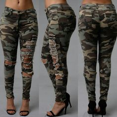 *If you're curvy, go up one size* Camouflage Fashion, Camo Fashion, Denim Fashion, New Ladies Fashion, Army Clothes, Camo Outfits, Dress Sketches, Jeans Brands, Stylish Outfits