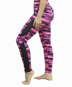 This Hot Pink Abstract Mesh-Accent Leggings is perfect! #zulilyfinds