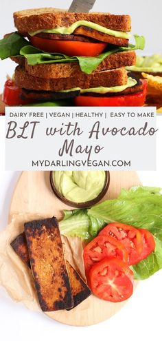 This vegan blt is made with a yummy avocado mayo, and it's the perfect sandwich for an easy lunchtime meal. #veganblt #easy #mydarlingvegan #recipe Eating Vegan, Vegan Food, Healthy Eating, Vegan Sandwiches, Sandwiches For Lunch, Free Recipes, Whole Food Recipes, Make Ahead Lunches, High Protein Recipes