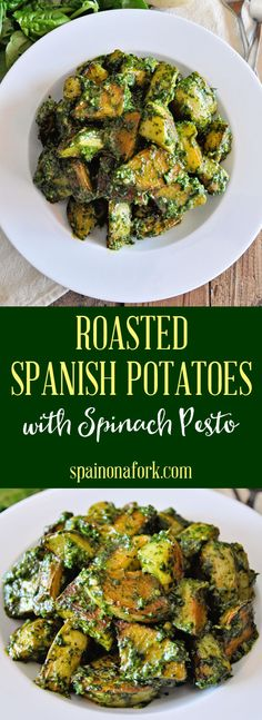 These Roasted Spanish Potatoes with Spinach Pesto are possible the best potatoes you will ever taste. Tapas Recipes, Real Food Recipes, Great Recipes, Favorite Recipes, Healthy Recipes, Healthy Side Dishes, Vegetable Side Dishes, World's Best Food, A Food