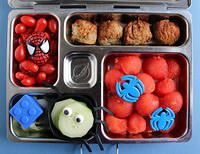 Preschooler Spiderman Planetbox Lunch. I like this with the meatballs, watermelon, cucumbers, maybe peppers instead of tomatoes.