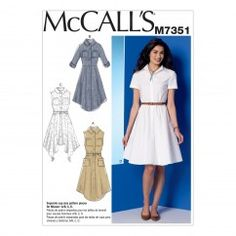 M7351 Misses' Shirtdresses with Pockets and Belt (size: 6-8-10-12-14)