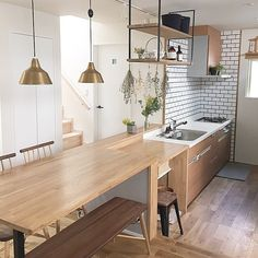 Zen Design Interior, Room Interior, Japanese Kitchen, Courtyard House, Minimalist Interior, Cozy House, Kitchen Organization, Home Furniture, Kitchen Design