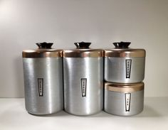 Vintage Aluminum Canisters Brushed Aluminum and by ChattCatVintage