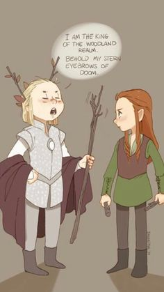 Little Legolas and Tauriel Legolas:I'm the king of the Woodland Realm. Legolas:I'm sorry Ada! I'm so sorry *run away* Thranduil: If I catch you. Lord Of Rings, Fellowship Of The Ring, Legolas And Thranduil, O Hobbit, Jrr Tolkien, The Elf, Middle Earth, Lotr, Nerdy