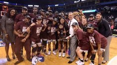 Mississippi State Women's Basketball after beating Baylor on March 26, 2017 to advance to the Final Four. #HailState!!