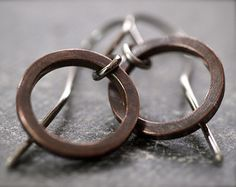 Chunky tiny petite round copper hoop earrings