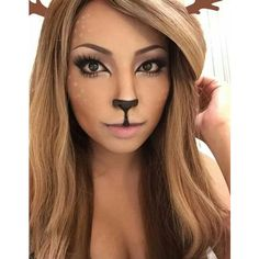 "Promise Tamang on Instagram: ""Reindeer/ Deer girl Makeup ? Used a lot... ❤ liked on Polyvore featuring beauty products, makeup and eye makeup"