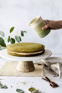 This Matcha Boston Cream Pie updates the classic New England dessert with a matcha sponge, a kinako flavored pastry cream and topped with a matcha glaze. Cream Pie Recipes, Pastry Recipes, Dessert Recipes, Matcha Dessert, Matcha Cake, Vegan Pastries, Pizza Special, Naked Cakes, Boston Cream Pie
