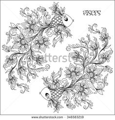 Pattern for coloring book. Hand drawn line flowers art of zodiac Pisces. Horoscope symbol for your use. For tattoo art, coloring books set. Henna Mehndi Tattoo Ethnic Zentangle Doodles style. - stock vector