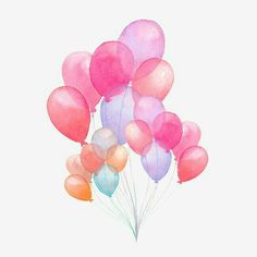 Hand drawn pack of party pink, blue, purple, red balloons isolated on white background. Pink Balloons, Red Balloon, Balloon Party, Watercolor Illustration, Watercolor Paintings, How To Draw Balloons, Birthday Party Background, Baby Shower Images, Balloon Painting