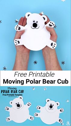 This Moving Polar Bear Cub craft is the cutest! Such a fun Winter craft for kids. It's easy to make with the free printable template. Cradle the polar bear craft in your hands and move its head from side to side to bring it to life. It's just darling! Green Crafts For Kids, Animal Crafts For Kids, Winter Crafts For Kids, Winter Crafts For Preschoolers, Kids Crafts, Bear Crafts Preschool, Teddy Bear Crafts, Artic Animals, Wild Animals