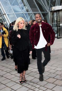 Kim & Kanye arriving at the Louis Vuitton fashion show, Paris Fashion Week - March 11, 2015