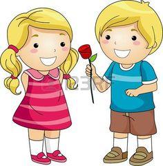 Illustration of a Boy Giving a Long Stemmed Rose to a Girl