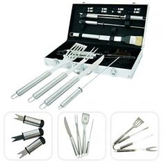 Stainless steel utensils for grill with aluminium case