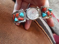 turquoise watch large signed pow wow Navajo Native American Jewelry southwest jewelry Texas quarter horse vintage turquoise estate jewelry by LittleCherokeeValley on Etsy