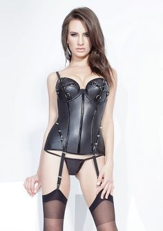 Matte Wet Look Bustier: S-2X