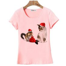 BGtomato squirrel and cat Christmas gift t shirt women/girl favourite lovely shirts Good quality brand cotton shirt trend tops(China (Mainland))
