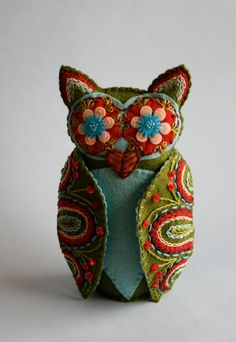 Owl Doll- Embroidered Felt- Mexican Folk Art- Hoot.  via Etsy.