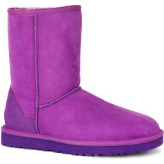 UGG Women's Classic Short Crazy Plum Boots ($130) ❤ liked on Polyvore featuring shoes, boots, purple, purple patent leather shoes, purple shoes, purple patent leather boots, plum boots and low heel shoes