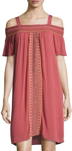 Neiman Marcus Smocked Off-the-Shoulder Embroidered Dress, Brown