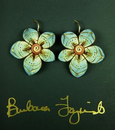 blue earrings by rubarb04, via Flickr polymer clay
