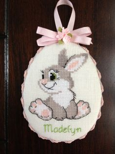 Easter Bunny cross stitch ornament