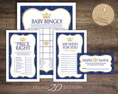 Instant Download Royal Blue Prince Baby Shower Games, Printable Bingo Cards, Price Is Right, Wish for Baby, Gold Crown Diaper Raffle 66C